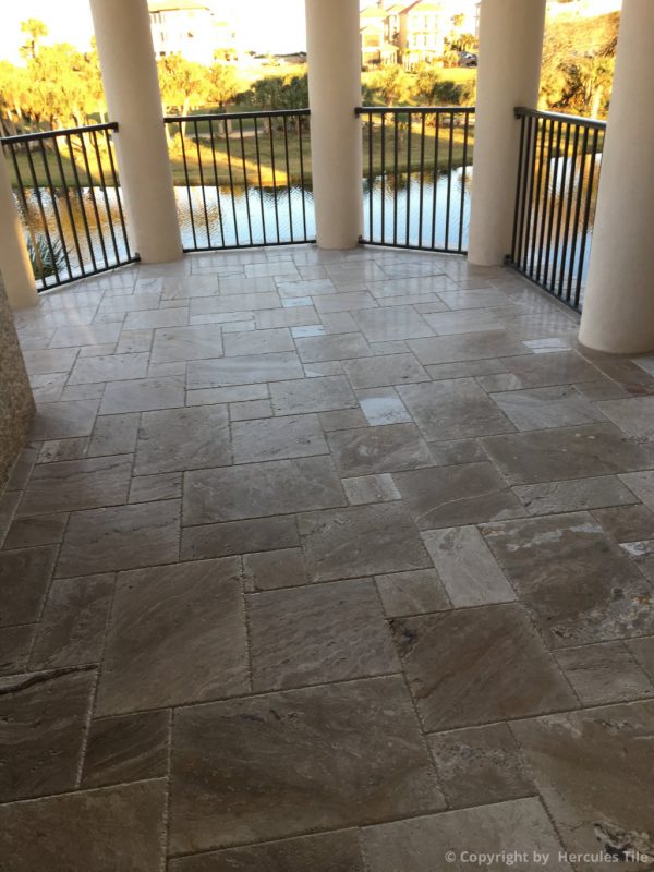 travertine chiseled french pattern