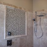 Travertine shower with best shower faceucet